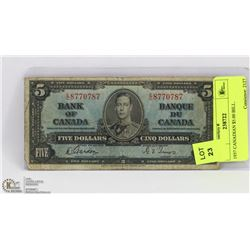 1937 CANADIAN $5.00 BILL.