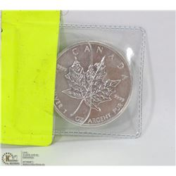 .999 SILVER MAPLE LEAF ONE OUNCE COIN.