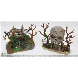 HALLOWEEN TOWN LEMAX SKULL AND GRAVEYARD