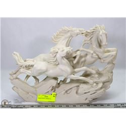 CARVED WHITE 3 HORSE FIGURE