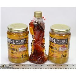GLASS HOCKEY FIGURE MAPLE SYRUP AND 2 LARGE 1KG
