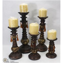 SET OF 5 RESIN DECORATIVE CANDLE HOLDERS