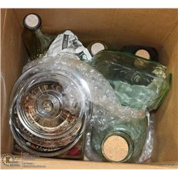 DECORATIVE GLASS BOTTLES AND COOKIE JAR.