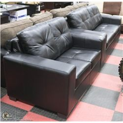 """NEW BLACK LEATHERETTE 84"""" SOFA WITH 64"""" LOVE SEAT"""