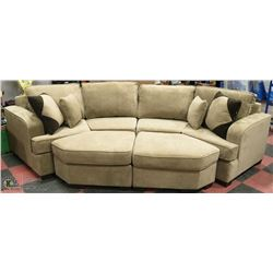 NEW DELUXE BROWN FABRIC SECTIONAL WITH OTTOMANS