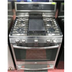 GE STAINLESS NATURAL GAS STOVE WITH WARMING DRAWER
