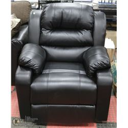 "NEW BLACK LEATHERETTE RECLINING 34"" SOFA CHAIR"