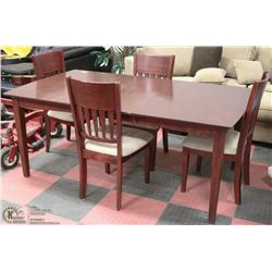 ESTATE SOLID BROWN WOOD TABLE W/LEAF &