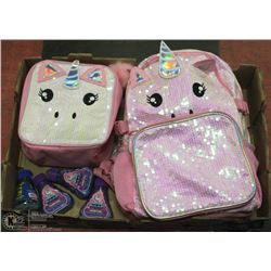 UNICORN BACKPACK  WITH MATCHING LUNCH KIT AND