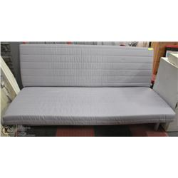 ESTATE FUTON COUCH WITH SILVER ALUMINUM FRAME