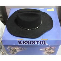 RESISTOL BAILEY BLACK COWBOY HAT IN BOX.