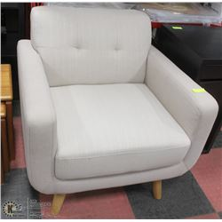 "SHOWHOME OFF WHITE FABRIC 34"" SOFA CHAIR"