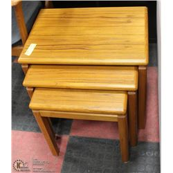 3PC TEAK WOOD NESTING TABLE SET