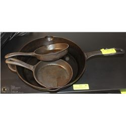 "3 CAST IRON SKILLETS INCL. 12"" AND 2-6.5"""