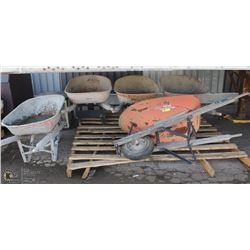 LOT OF 5 WHEEL BARROWS