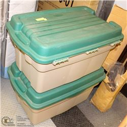 2 RUBBERMAID STORAGE TUBS