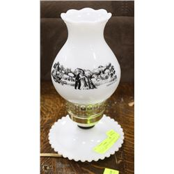 VINTAGE CURRIER AND IVES MILK GLASS LAMP