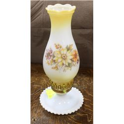 VINTAGE FLORAL MILK GLASS LAMP (WORKING)