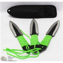 SET OF 3 THROWING KNIVES WITH SHEATH NEW IN BOX.