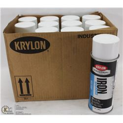 CASE WITH 12 CANS OF KRYLON WHITE IRON GUARD