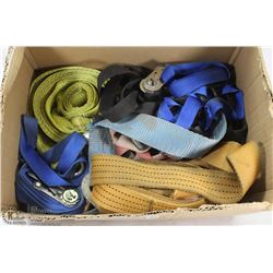 BOX OF TIE DOWN STRAPS.
