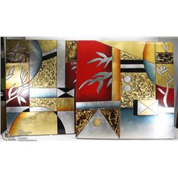 2 WALL DECOR PC METALLIC ABSTRACT