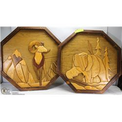 PAIR OF HEXAGON WOOD CRAFT PICTURES, 1 MOUNTAIN