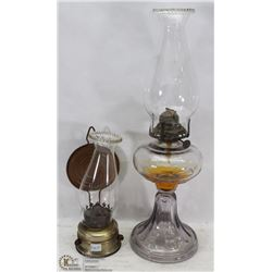 PAIR OF ESTATE COAL OIL LAMPS, 1 IS TURNING PURPLE