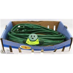 30' GREEN EXTENSION CORD WITH TWO FEMALE PLUGS