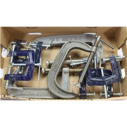 FLAT OF LARGE C CLAMPS AND OTHER VARIOUS CLAMPS