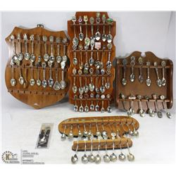 BOX OF COLLECTOR SPOONS WITH RACKS