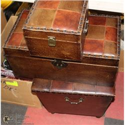 3 LEATHER COVERED DECORATIVE BOXES