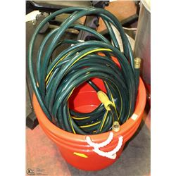 THREE PLASTIC TUBS WITH HOSE