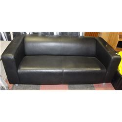 "BLACK LEATHERETTE 70"" LOVESEAT"