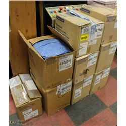 9 ASSORTED SIZE BOXES OF DISPOSABLE COVERALLS