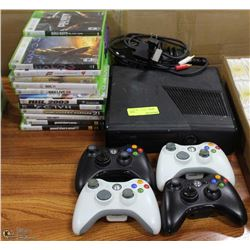 XBOX 360 WITH 4 CONTROLLERS AND OVER 20 GAMES