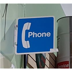 DOUBLE SIDED TIN PHONE BOOTH FLANGE SIGN