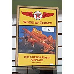 NIB DIE CAST TEXACO 1929 CURTIS ROBIN AIRPLANE