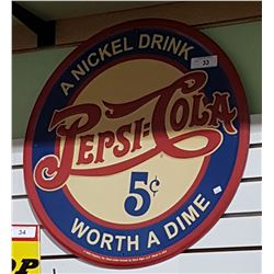 PEPSI COLA EMBOSSED TIN SIGN