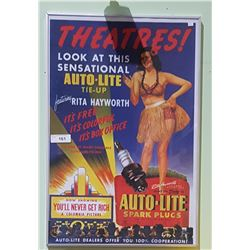 FRAMED MOVIE POSTER W/AUTO LITE SPARK PLUGS TIE IN