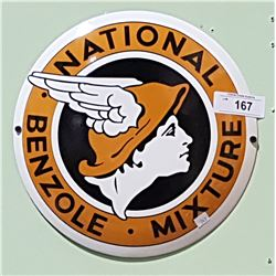 PORCELAIN NATIONAL BENZOLE CONVEX SIGN