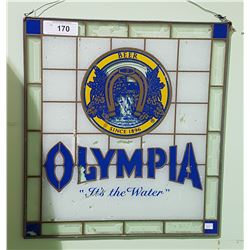 1970'S OLYMPIA BEER STAINED GLASS PANEL