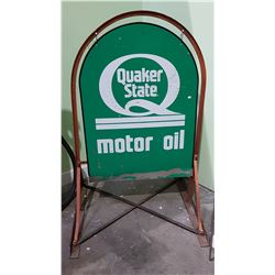 ORIGINAL DOUBLE SIDED QUAKER STATE TOMBSTONE SIGN