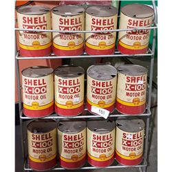 12 VINTAGE SHELL X-100 OIL QUART TINS
