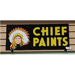 1950'S DOUBLE SIDED CHIEF PAINTS METAL SIGN