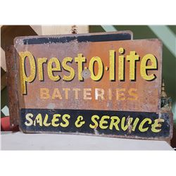 1940'S DOUBLE SIDED PRESTO-LITE FLANGE SIGN