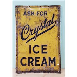 1940'S TIN CRYSTAL ICE CREAM SIGN