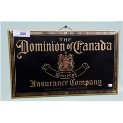 VINTAGE DOMINION OF CANADA INSURANCE COMPANY TIN SIGN