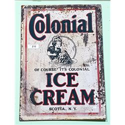 1950'S COLONIAL ICE CREAM METAL SIGN