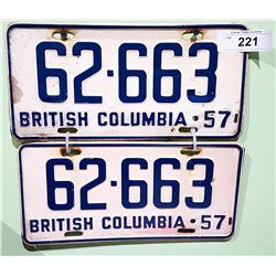 PAIR 1957 BC LICENSE PLATES
